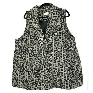 Leopard print moto vest